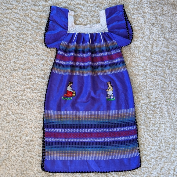 Dresses & Skirts - VTG Mexican Themed Purple Maxi Dress SZ XL